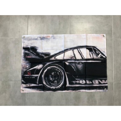 Bandera Decoracion Porsche lienzo